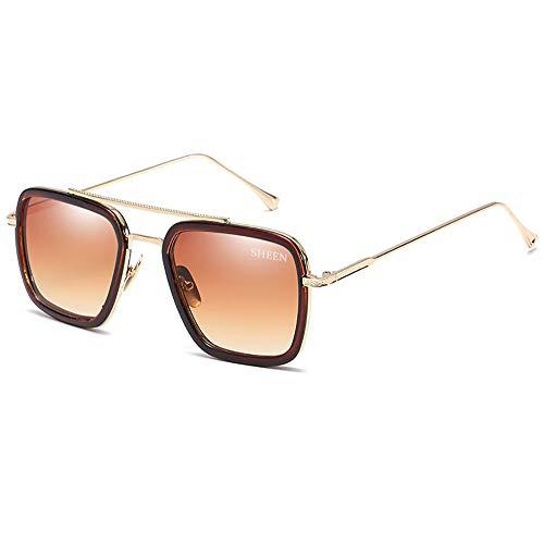 Retro Aviator Sunglasses Square Metal Frame for Men Women Sunglasses Classic Downey Iron Man Tony Stark Gold Frame Brown ()