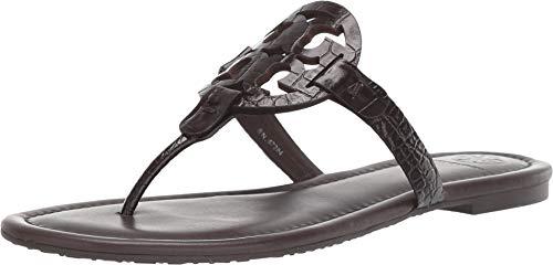 Tory Burch Miller Croco Emboss Sandal TB Logo (9, Brown)