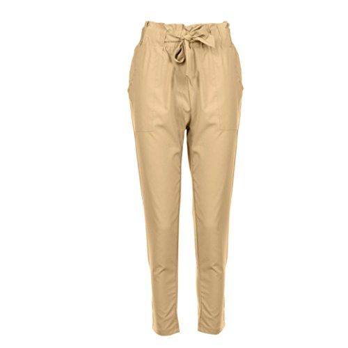 Coohole Fashion Women's New Sexy Women Skinny Long Pants Casual High Waist Stretch Slim Pencil Trousers (Khaki, S)