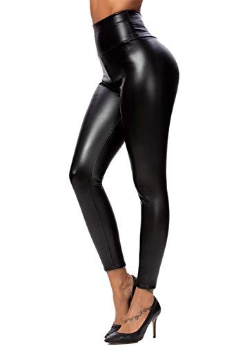 heekpek Leggings Simili Cuir Taille Haute Sexy Doublure de Polarire Brillant Effet Pantalon Femme Chaude Et Épaisse