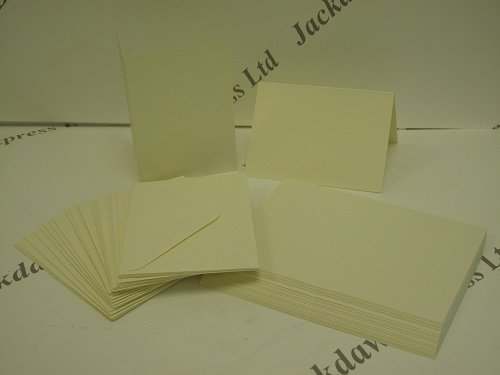 Cream/Ivory Mini Cards 25 x Single Fold A7 105x74mm & Envelopes for Cardmaking AM242 Jackdaw Express