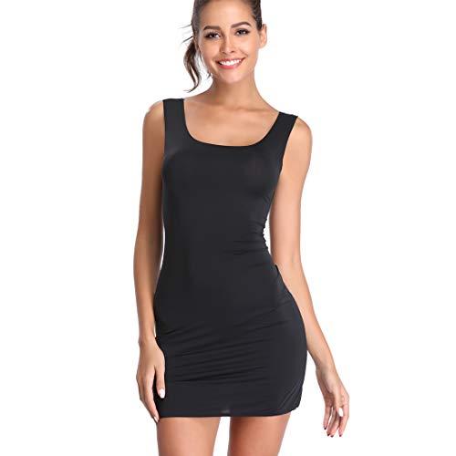 Full Slips for Under Dresses Seamless Body Shaping cami Scoop Neck Long Tank Dress Black