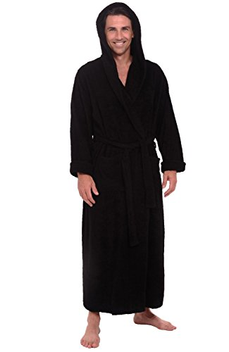 Del Rossa Mens Turkish Terry Cloth Robe, Long Cotton Hooded Bathrobe, 1XL 2XL Black (A0127BLK2X) Tall Terry Cloth Robes