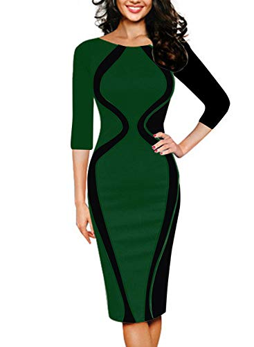 Green Pencil 2 Cocktail Sleeve Women Optical Colorblock Work Short Dress REMASIKO Black Illusion wq7vS8xxn