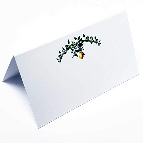 (Place Cards with Green Leafy Flowery Garland with Lemon for Weddings, Showers, Dinners, Parties and Special Events . Table Tent Style, Scored for easy folding. Available in Pkgs of 12 / 25 / 50 (50) )