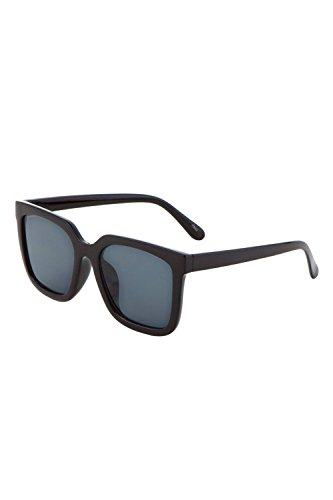 Womens Plastic Flat Plain Classic Square Shape Color Mirror Sunglasses P6232 (Black/Black, - Plain Sunglasses Black