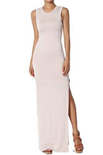 TheMogan Junior's Side Slit Lined Jersey Bodycon Summer Tank Maxi Dress Taupe L (Jersey Sleeveless Lined)