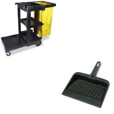 KITRCP2005CHARCP617388BK - Value Kit - Rubbermaid-Chrome Heavy Duty Dust Pan (RCP2005CHA) and Rubbermaid Cleaning Cart with Zippered Yellow Vinyl Bag, Black (RCP617388BK) by Rubbermaid