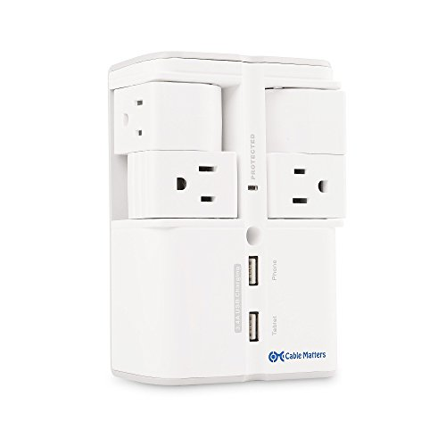 Cable Matters 4-Rotating Outlet Wall Mount Surge Protector with 3.4A Dual USB Charging