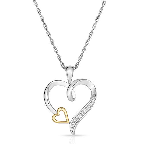 My One and Only Heart 10KT Yellow Gold and 925 Sterling Silver Diamond Double Heart in Heart ()