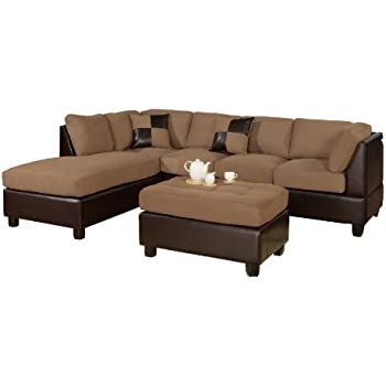 Exceptionnel Bobkona Hungtinton Microfiber/Faux Leather 3 Piece Sectional Sofa Set,  Saddle