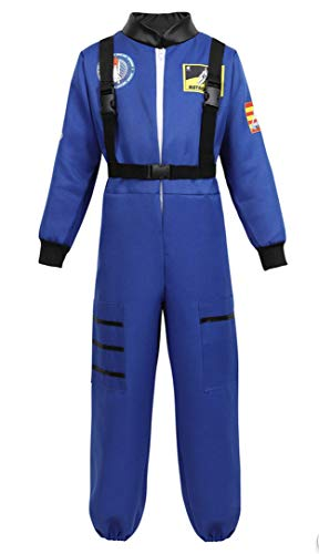 Halloween Astronaut Costume for Kids Role Play Child NASA Flight Jumpsuit Costumes Blue L]()