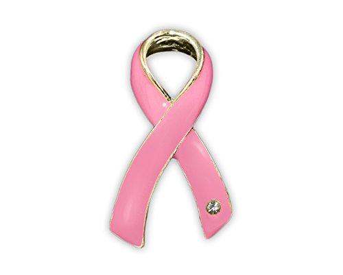 Breast Cancer Pink Ribbon Pin with Crystal (1 Pin - Retail) ()