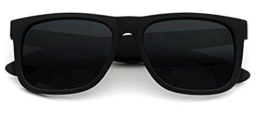 WearMe Pro - Classic Flat Top Horn Rimmed Black Frame Black Lens Sunglasses Matte Black Frame / Super Dark Lens