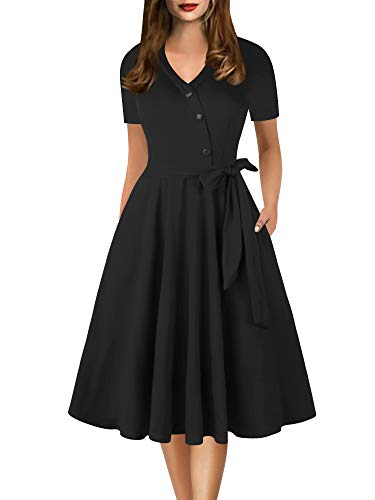 Sakaly Fall Dresses for Women Casual 3/4 Sleeve Button Down V Neck Belt Midi Dress with Pockets SW309