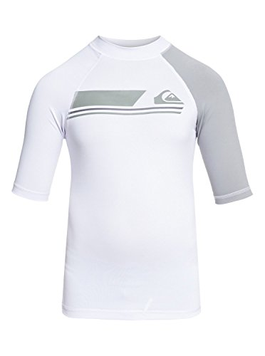 Vest Rash White (Quiksilver Boys Active - Short Sleeve Upf 50 Rash Vest Short Sleeve Upf 50 Rashguard White L/14)