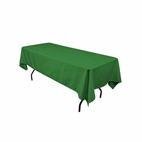 Runner Linens Factory Rectangular Polyester Tablecloth 60x102 Inches By (Kelly Green) Green Linen Tablecloth