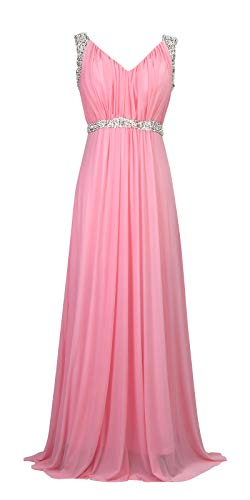 - Conail Coco Women's Tulle Beading A-Line Bridesmaid Prom Dresses Long Cocktail Evening Gowns (Medium,98pink)