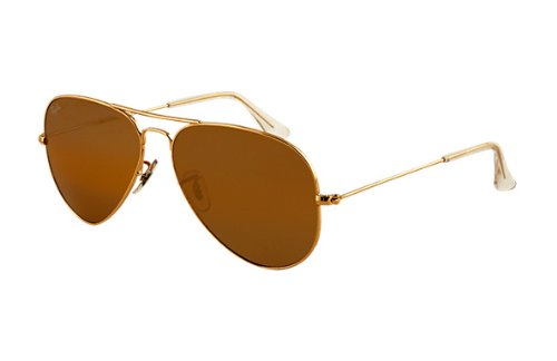 Ray-Ban RB3025 Aviator Sunglasses Arista Gold w/Crystal Brown (001/33) RB 3025 001/33 58mm Authentic (Ray Ban Aviator Arista Gold)