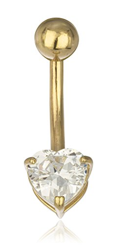 JOTW 14K Gold Belly Button Ring CZ Shaped Heart (Yellow-Gold) (GO-1520) (Ring Button 14k Gold Belly)