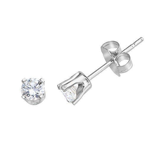 - 0.25 Carat (ctw) 14k White Gold Round Diamond Martini Setting Solitaire Stud Earrings with Post with Friction Back