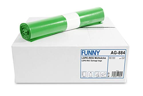 Funny LDPE-Regenerat vuilniszakken, groen, opgerold, 120 l, type 60, 1 stuks (1 x 250 stuks)