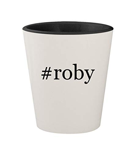 #roby - Ceramic Hashtag White Outer & Black Inner 1.5oz Shot Glass (Chart The Roby)