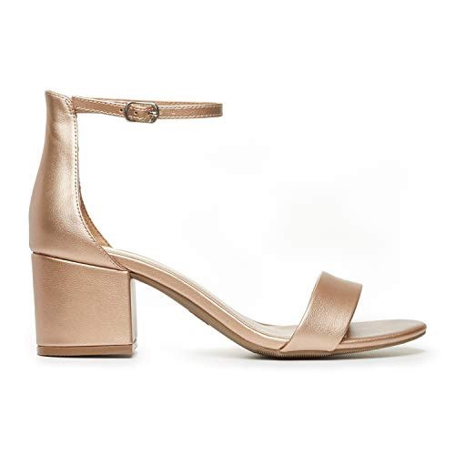 (Rohb by Joyce Azria Calypso Mid Heel Ankle Strap Sandal (Rose Gold PU Metallic Leather) Size 6)