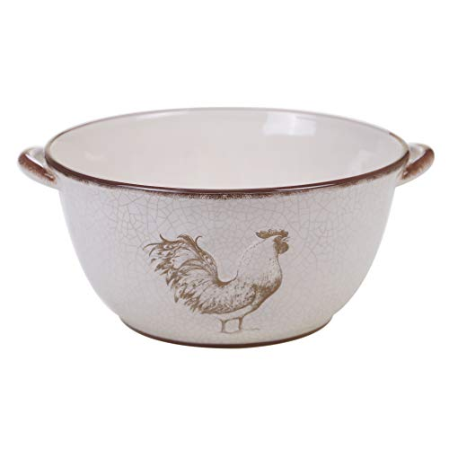 Certified International Toile Rooster Deep Bowl with Handles,One Size, Multicolored