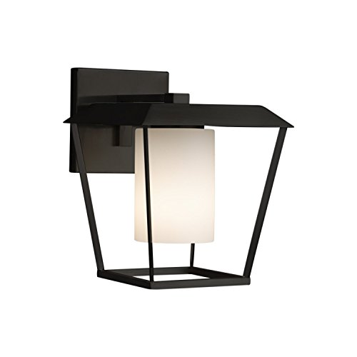 (Fusion - Patina Large 1-Light Outdoor Wall Sconce - Cylinder with Flat Rim Artisan Glass Shade in Opal - Matte Black Finish)
