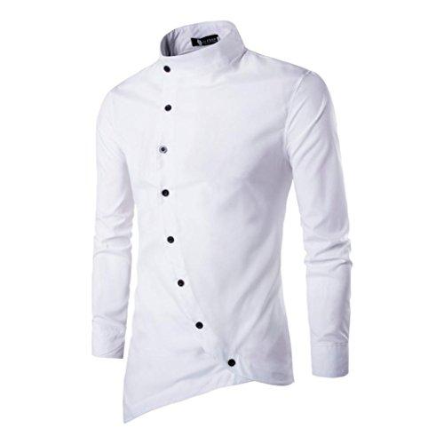Fit Casual larga Aimee7 S Camisa de manga hombre de Slim Irregular xUzT6q