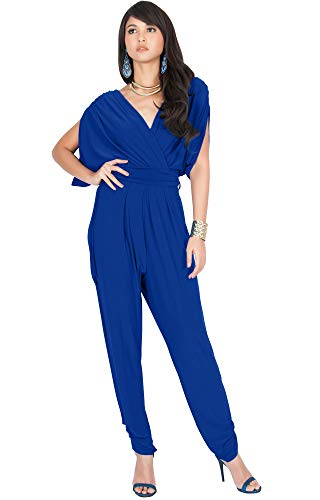 KOH KOH Plus Size Women Long Pant Pants Suit Suits Sexy V-Neck Short Batwing Sleeve Sleeves Cocktail Party Casual Pantsuit Playsuit Jumpsuit Jumpsuits Romper Rompers, Cobalt/Royal Blue XL 14-16 ()