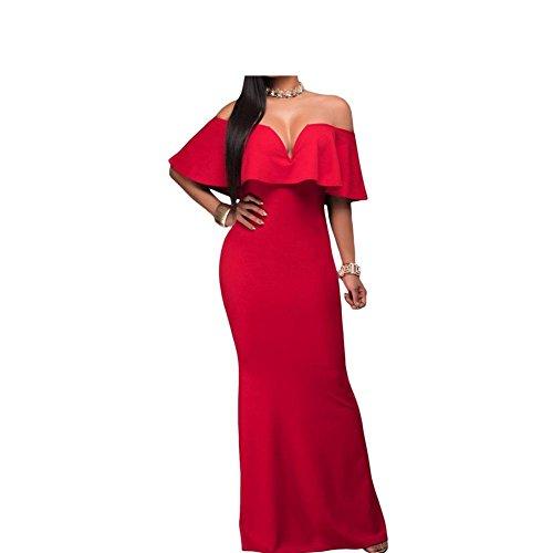 PU&PU Épreuves féminines élégance formelle/Party sirène robe de soirée, de cou épaule V , red , s