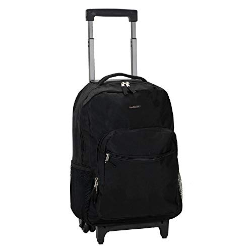 Rockland Luggage 17 Inch Rolling Backpack, Black, Medium