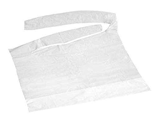 Disposable Waterproof Plastic Bibs with Crumb Catcher Pocket Lightweight (Case of 1000) by Personal Touch