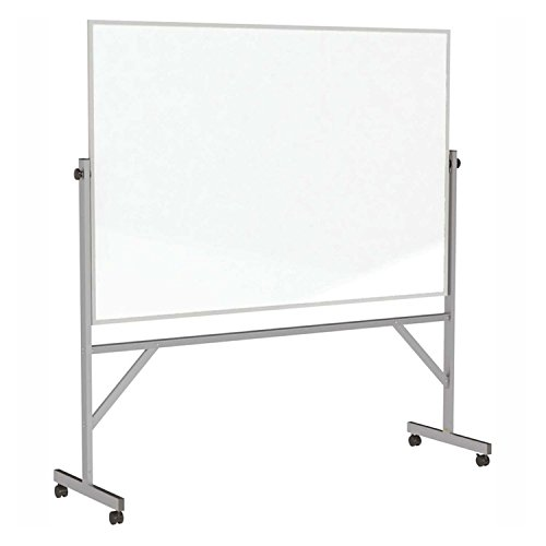 Ghent Mobile Reversible Magnetic Porcelain Whiteboard - Aluminum Frame - 96