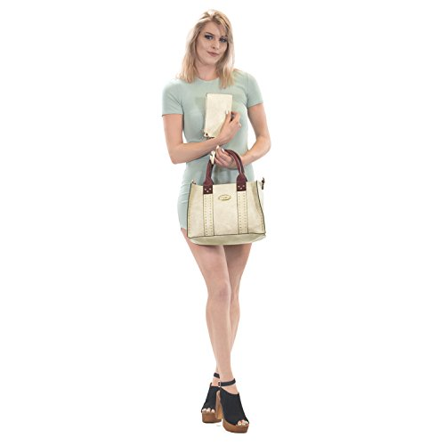 Bags Purses Beige Handle Satchel 3pcs Vegan Top Fashion Handbags Women 0620w Designer Shoulder Leather Work Sa8v6XYnq