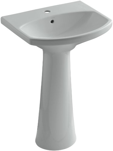 imarron Pedestal Bathroom Sink with Single-Hole Faucet Drilling, Ice Grey ()