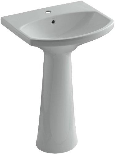 KOHLER K-2362-1-95 Cimarron Pedestal Bathroom Sink with Single-Hole Faucet Drilling, Ice Grey