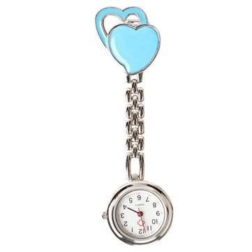 (Sweet Heart Pocket Watch Stainless Dial Tunic Fob Pocket Doctor Nurse Watch - Women Watches Nurse Watches - (Blue) -)