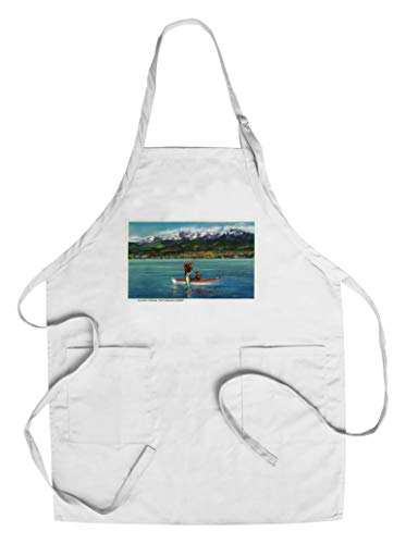 Salmon Fishing in Port Angeles Harbor (Cotton/Polyester Chef's Apron)