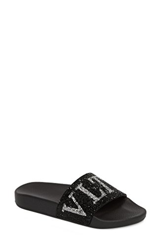 案件献身方法論[ヴァレンティノ] レディース サンダル Valentino Crystal Logo Slide Sandal (Wom [並行輸入品]
