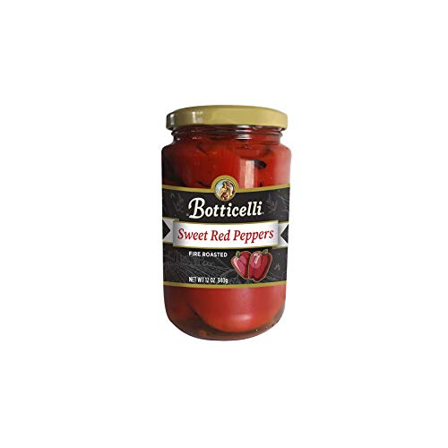 Roasted Red Pepper Relish - Botticelli Fire Roasted Sweet Red Peppers. Fire Roasted and Marinated, Great for Sauces, Pasta, Sautéing and for Toppings. Made in Small Batches with Natural Ingredients (12oz/340g)