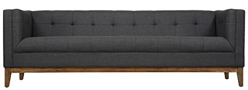 Tov Furniture The Gavin Collection Classic Linen Fabric Upholstered Wood Living Room Sofa Couch, Gray