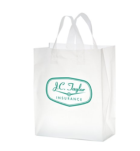 250 Personalized Clear Frosted Soft Loop Shopper Bag Imprinted With Your Logo Or Message in Flexo (Frosted Soft Loop)