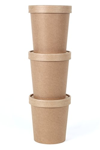 CucinaPrime Kraft Paper Food Containers with Vented Lids, 16 Ounce, 25 Pack