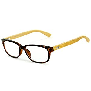 """Zen Garden"" Eco-Chic Wayfarer Reading Glasses with Recycled Bamboo Temples for Men and Women (Tortoise +1.75)"
