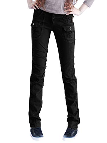 AUSZOSLT Women's Casual Stretch Utility Pocket Skinny Cargo Pants Jeans with Zipper Black L