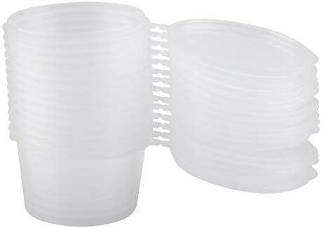 100 Tazas de Salsa de Plástico de 100 ml con Tapas Adjuntas para Salsa y Condimentos Transparentes para Condimentos Souffle Gelatina Muestra Píldora