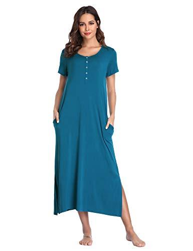 Lusofie Nightgowns for Women Sleepshirts Long Nightshirt Soft Knit Sleepwear (Blue, S)